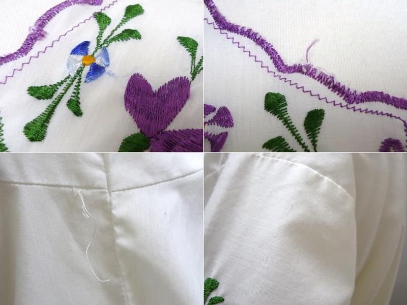 花柄刺繍 チュニック 紫の花