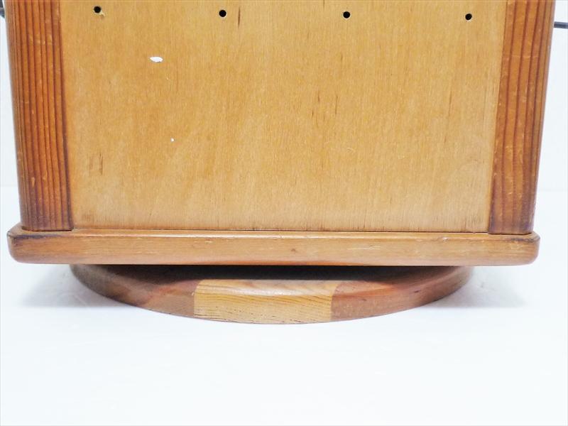 70〜80's 回転式ディスプレイラック 木製 ミラー付