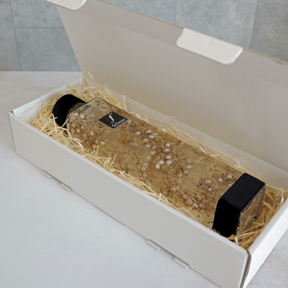 ハーバリウム角瓶(四角柱)ロングボトル『シャンパンゴールド(1本)』