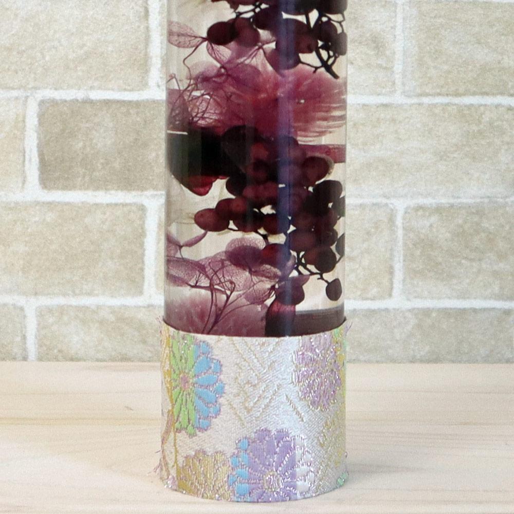 ハーバリウム丸瓶(円柱)ロングボトル 『パープル(1本)』 西陣織リボン付き