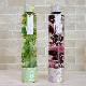 ハーバリウム丸瓶(円柱)ロングボトル 『グリーン・パープル(2本セット)』 西陣織リボン付き