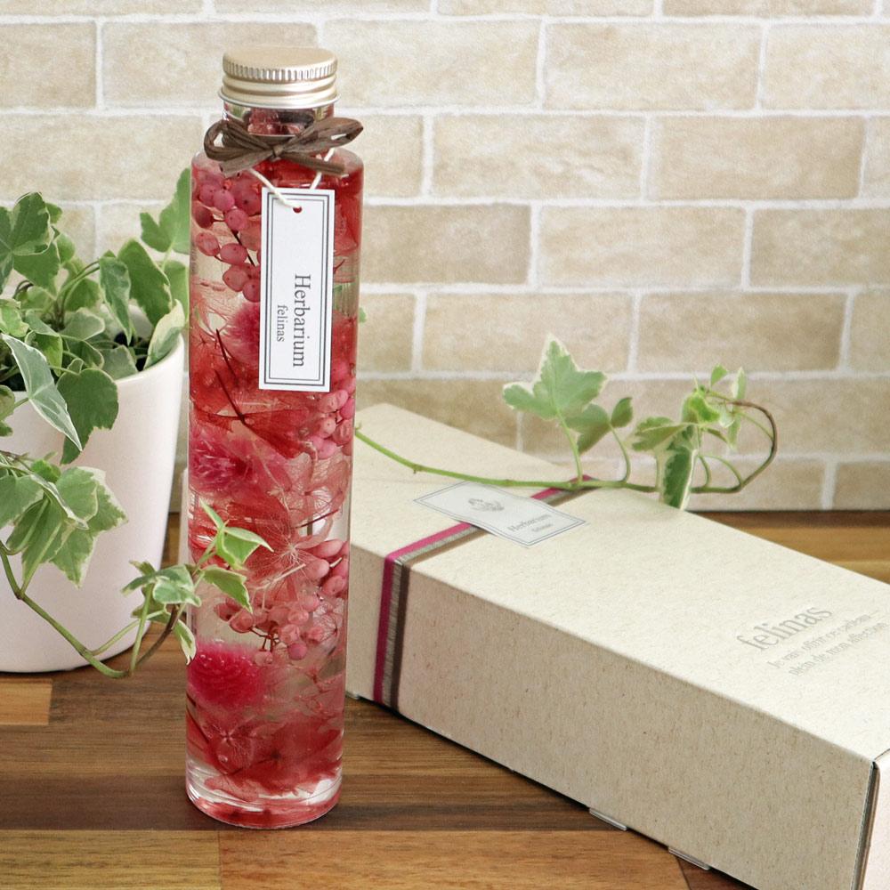 ハーバリウム【丸瓶(円柱)ピンク,1本】