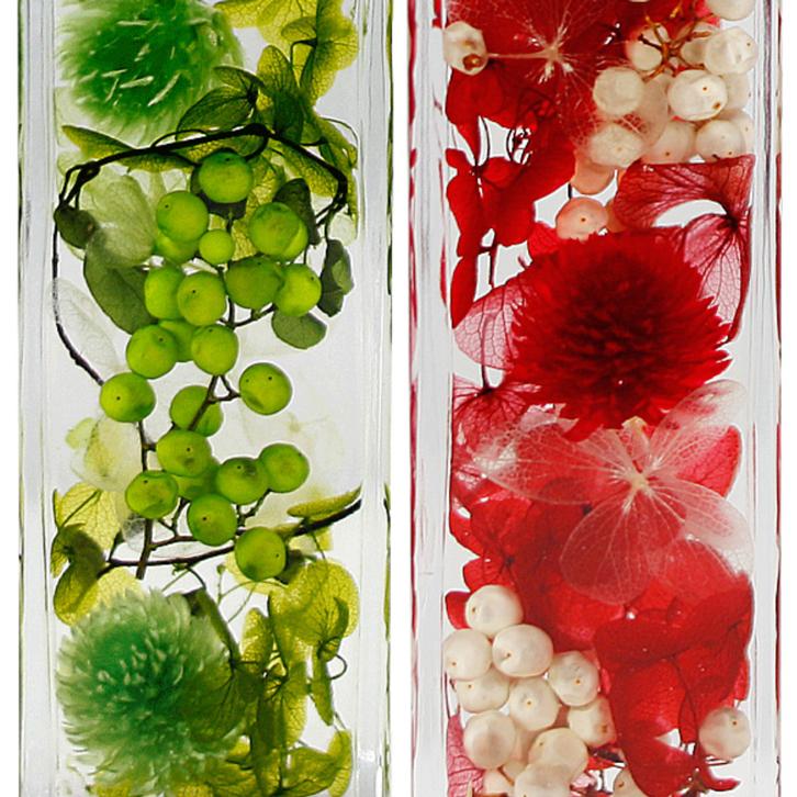ハーバリウム 角瓶 (2本セット) グリーン & レッド 母の日 2020 花 ギフト / 送料無料 日付指定 プレゼント 贈り物 誕生日 結婚 記念日 フェリナス
