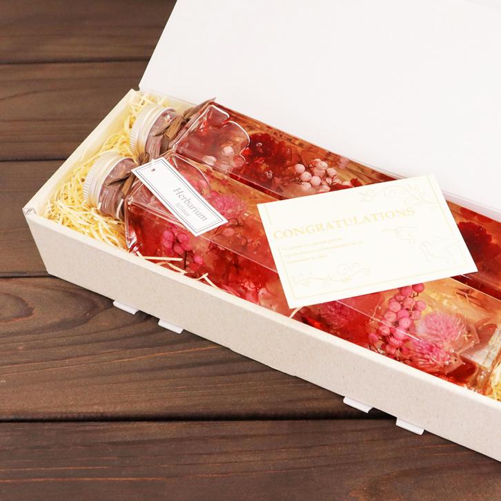 ハーバリウム 角瓶 (2本セット) ピンク & レッド 母の日 2020 花 ギフト / 送料無料 日付指定 プレゼント 贈り物 誕生日 結婚 記念日 フェリナス