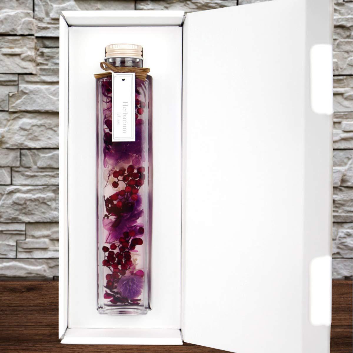 ハーバリウム 角瓶 (1本) パープル 紫 母の日 2020 花 ギフト / 送料無料 日付指定 プレゼント 贈り物 誕生日 結婚 記念日 フェリナス