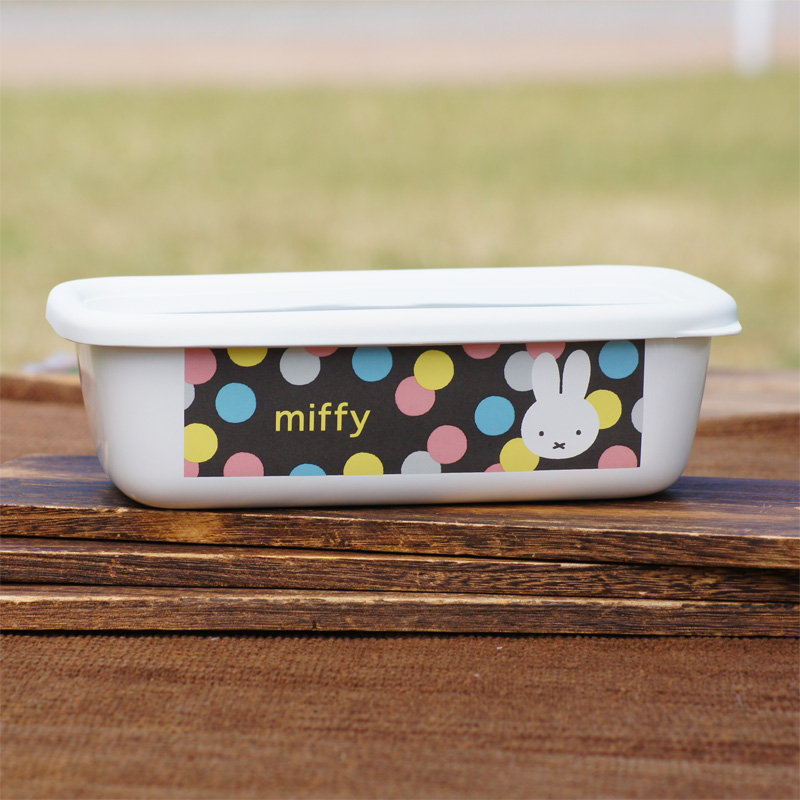 [MF21-B2.G] ミッフィー ホーローパックB型 (大) オータムカラー 水玉 [miffy][Dick Bruna][琺瑯]