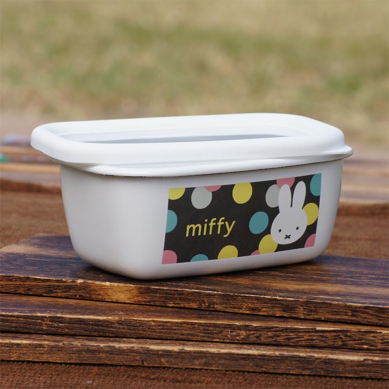 [MF21-B1.G] ミッフィー ホーローパックB型 (小) オータムカラー 水玉 [miffy][Dick Bruna][琺瑯]
