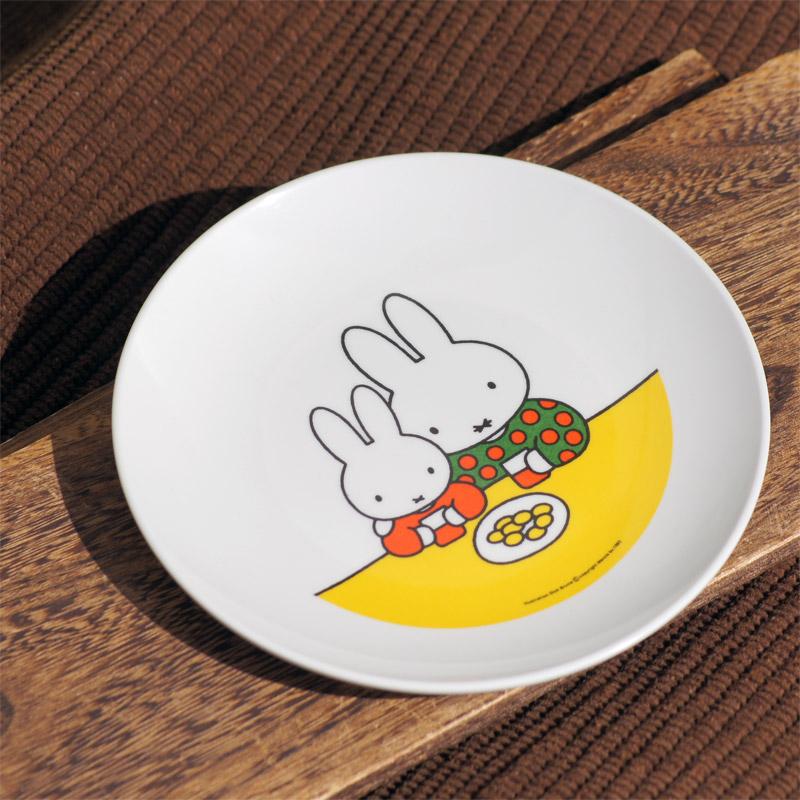 [CM-6C] メラミン子供食器 丸皿 ミッフィーと自転車 [miffy][Dick Bruna]