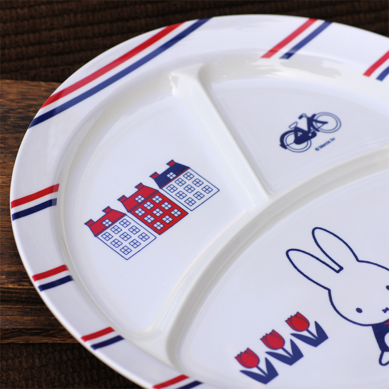 [CM-65D] ミッフィー メラミン子供食器 丸ランチ皿 65thダッチモチーフ [miffy][Dick Bruna]