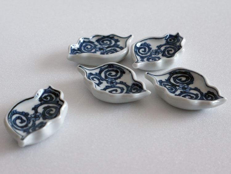 京焼清水焼 箸置き 木の葉型「蛸唐草」(5客)■双楽窯