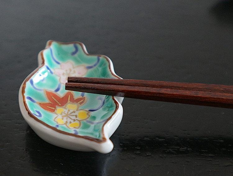 京焼清水焼 箸置き 木の葉型「流水」(5客)■双楽窯