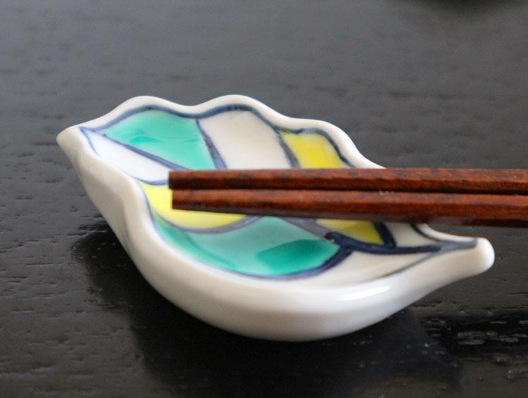 京焼清水焼 箸置き 木の葉型「葉模様」(5客)■双楽窯