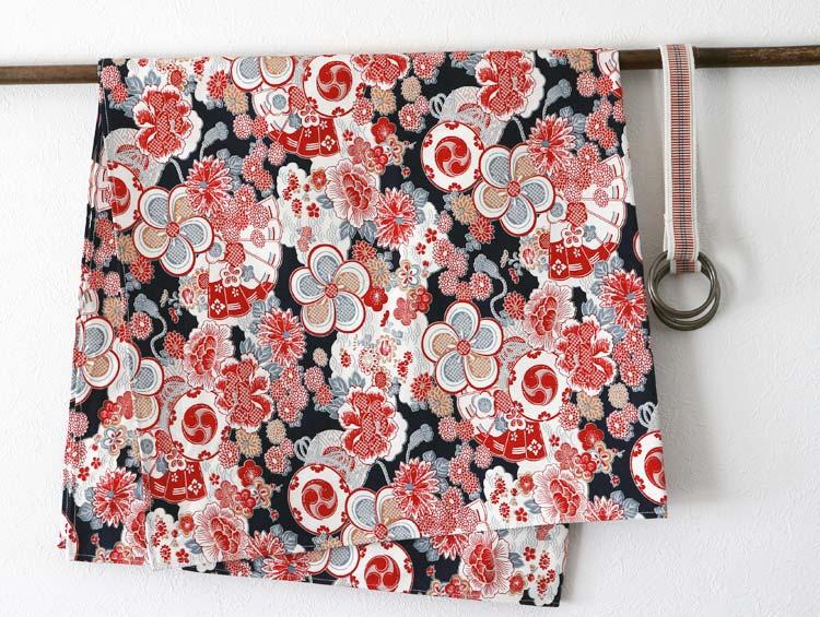 風呂敷バック 和柄 赤  [持ち手 紐・ハンドルと風呂敷セット] ■かどぴょんマーケット