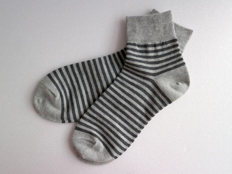 「ボーダーショートソックス」炭ソックスTan-Tan  【炭の靴下】 ■ SUMI yarn®