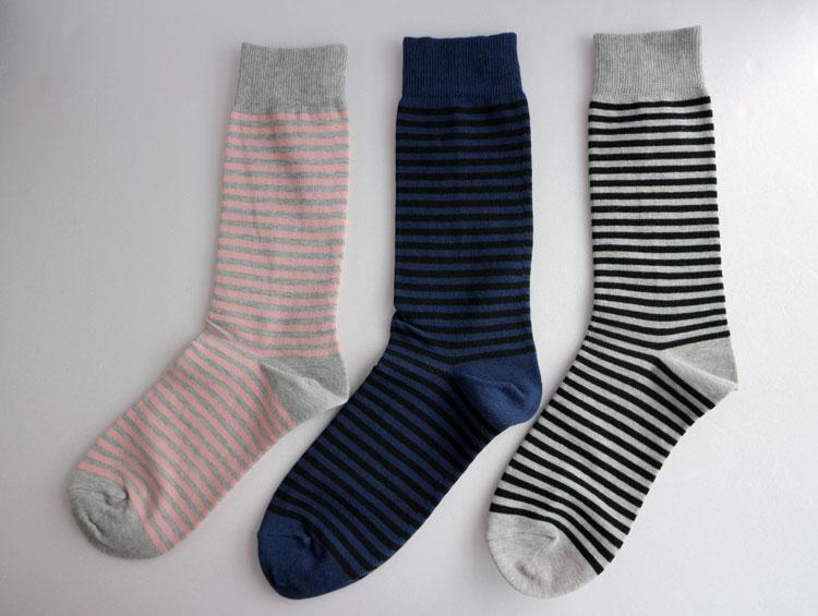 「ボーダーベーシックソックス」炭ソックスTan-Tan  【炭の靴下】[男性、女性] ■ SUMI yarn®