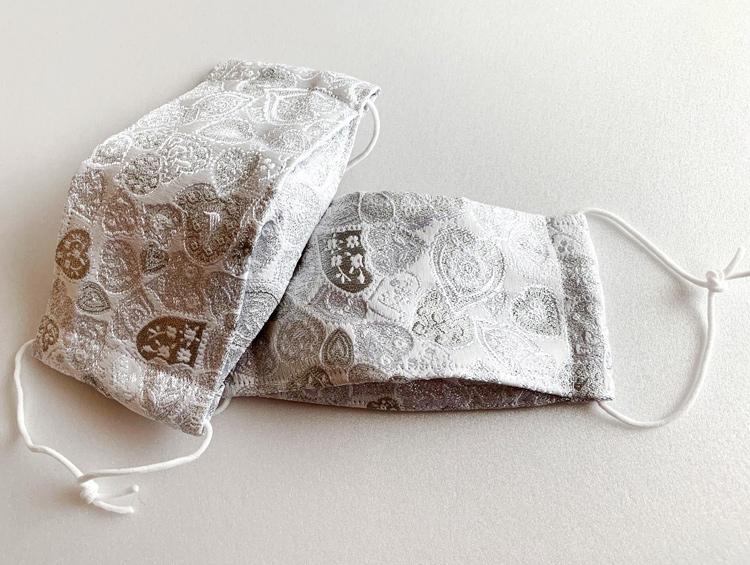おしゃれマスク 西陣織金襴C 立体布マスク ノーズワイヤー入り (ハンドメイド) ■かどぴょんマーケット