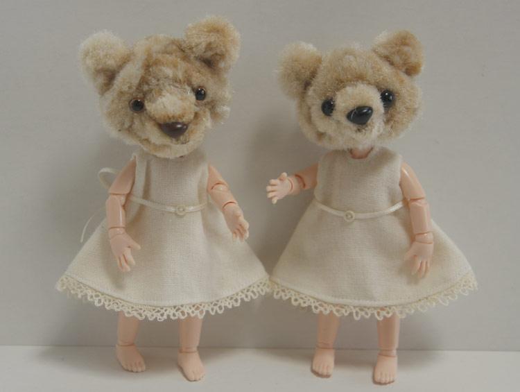 オビツボディ くま ドール Doll ピッケポッケプランタのクマさん モールヘッドドール クマ ★オビツボディ11使用  ワンピース付き ■ikeda popo