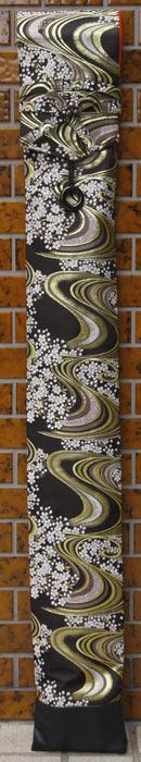 「流水桜(黒)」 西陣織金襴 竹刀袋(3本入り) ネームタグ付き [剣道具] ■小室久美子