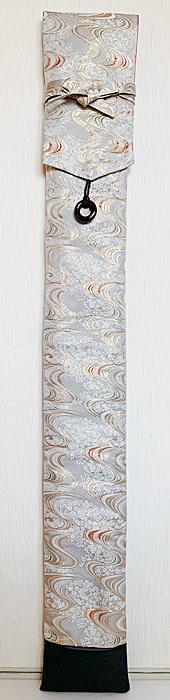 「流水桜(銀)」 西陣織金襴 竹刀袋(3本入り) ネームタグ付き [剣道具] ■小室久美子