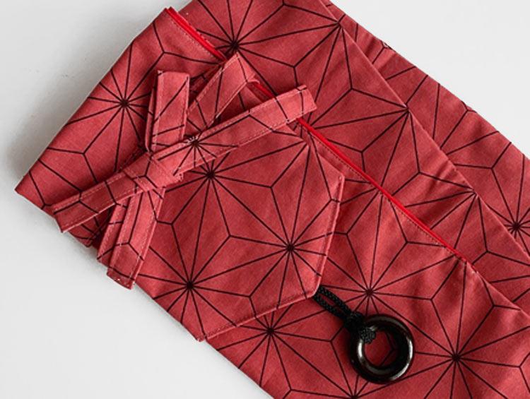 低学年用 剣道具竹刀袋「あさのは模様 ピンク/濃ピンク」(2本入り)■小室久美子
