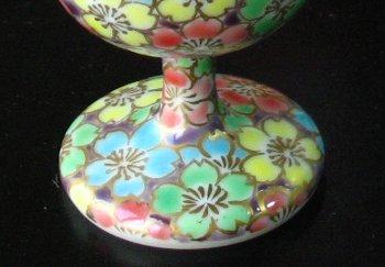 京焼清水焼 ワインカップ 桜のワイングラス 紫濃四色桜花紋 ■双楽窯