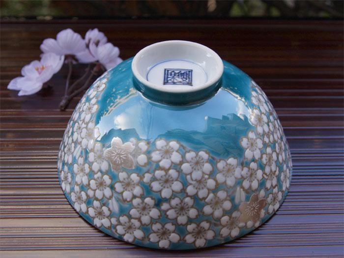京焼清水焼 めし碗 茶碗 「銀彩桜花紋飯茶碗」 ■楽峰窯