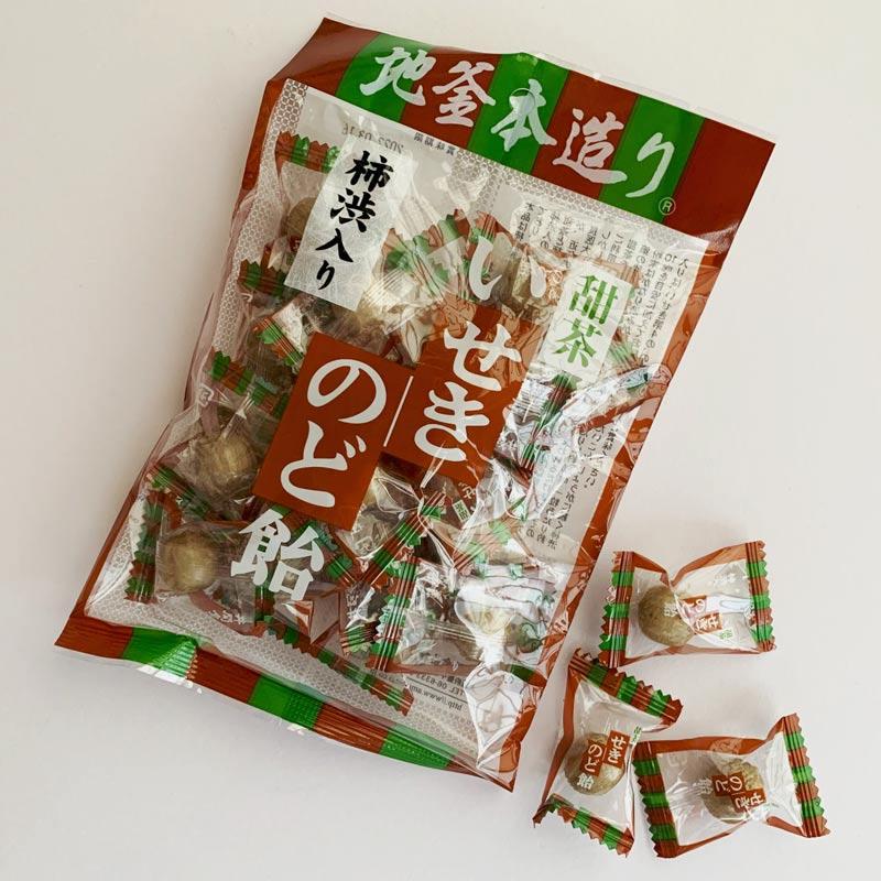 いせき のど飴 柿渋入り 甜茶のど飴 10袋 地釜本造り飴 ■井関食品