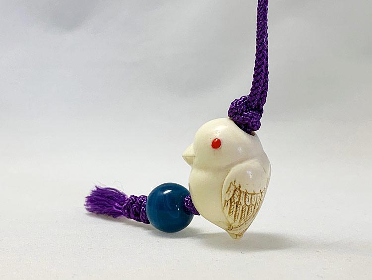 「小鳥」 根付ストラップ 帯飾り  河馬の牙[男性、女性] ■光斎