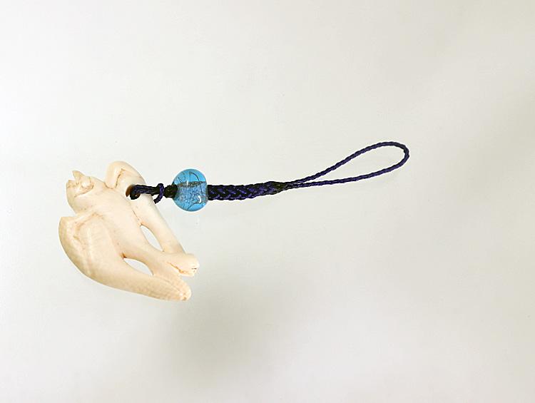 「飛燕」 根付ストラップ 帯飾り  河馬の牙 ■光斎
