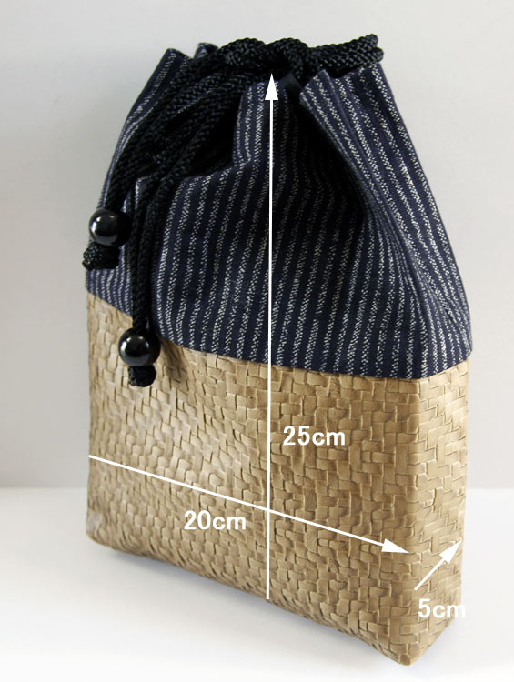 男性用巾着袋 メンズ 信玄袋(合切袋)【縞柄】 ■小室久美子