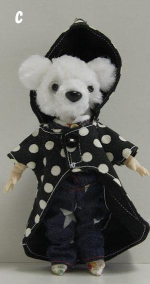オビツボディ ドール doll くまチャーム  ピッケポッケプランタのクマさん レインコートチャーム クマ ★オビツボディ11使用 ■ikeda popo