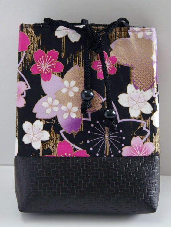 女性用巾着袋 信玄袋 ポーチ「桜浪漫巾着(黒)」■小室久美子