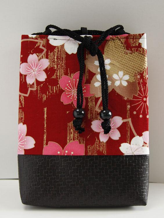 女性用巾着袋 信玄袋 ポーチ「桜浪漫巾着(赤)」■小室久美子