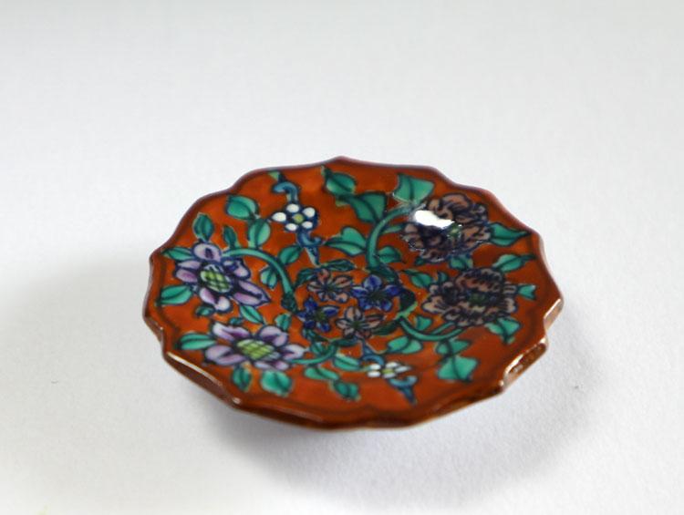 京焼清水焼 箸置き 豆皿 赤地牡丹鉄線(5客)■双楽窯