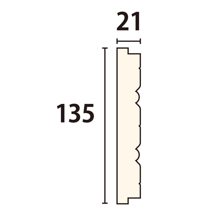 WWA32113AY:木製ウェーブモール 135×3650mm (D21)