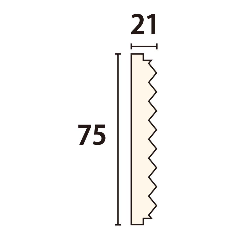 WWA62107AY:木製ウェーブモール 75×3650mm (D21)