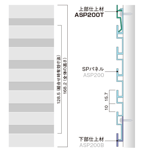 ASP200TA:SPシステムパネル 機能パネル上部仕上材 (アルミ色)