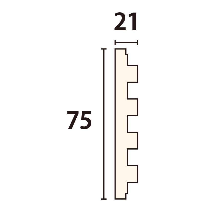 WWA82107AY:木製ウェーブモール 75×3650mm (D21)