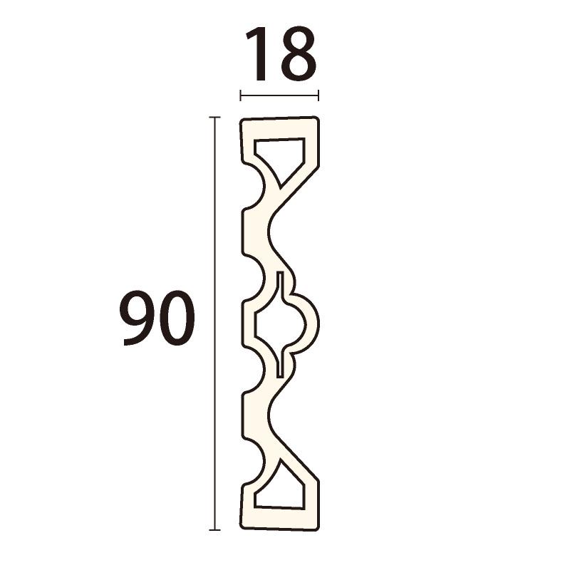 LB2113:ライトモール [90×18]  2000mm (硬質ポリスチレン)