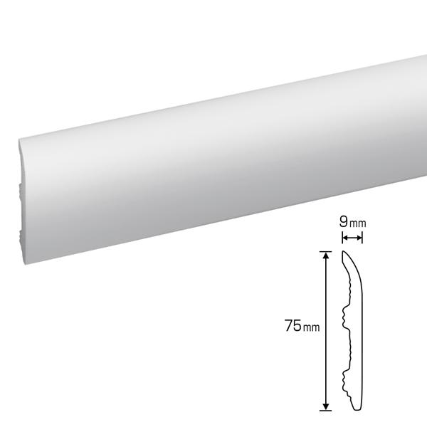 硬質ポリスチレン製モールディング 巾木・チェアレール 75×9×2000mm 【ゴールデンモールハード NMGH001】