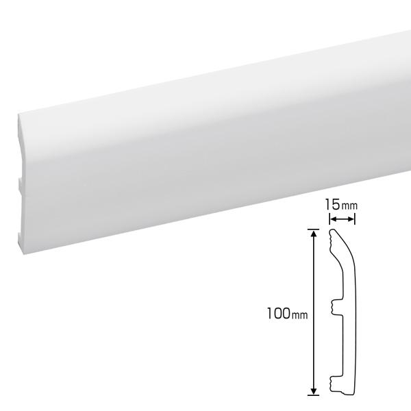 硬質ポリスチレン製モールディング 巾木・チェアレール 100×15×2000mm 【ゴールデンモールハード NMGH003】