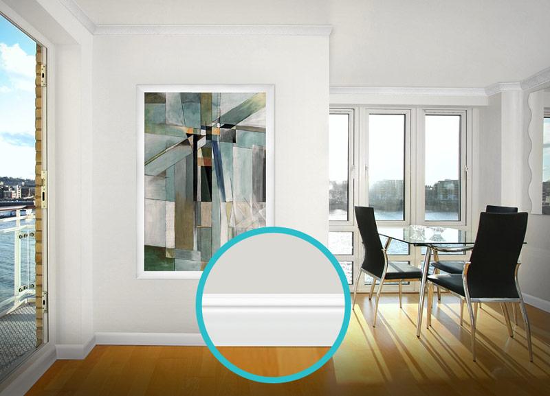 硬質ポリスチレン製モールディング 巾木・チェアレール 125×15×2000mm 【ゴールデンモールハード NMGH006】