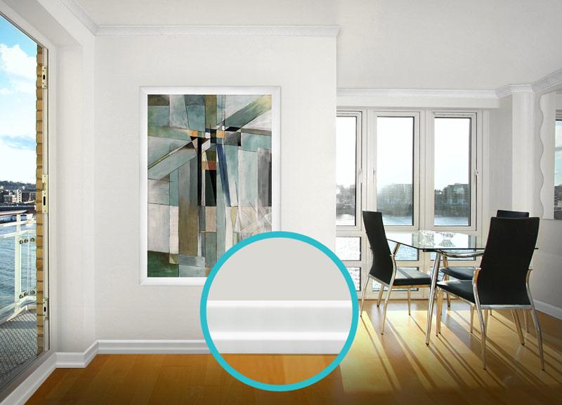 硬質ポリスチレン製モールディング 巾木・チェアレール 130×16×2000mm 【ゴールデンモールハード NMGH007】