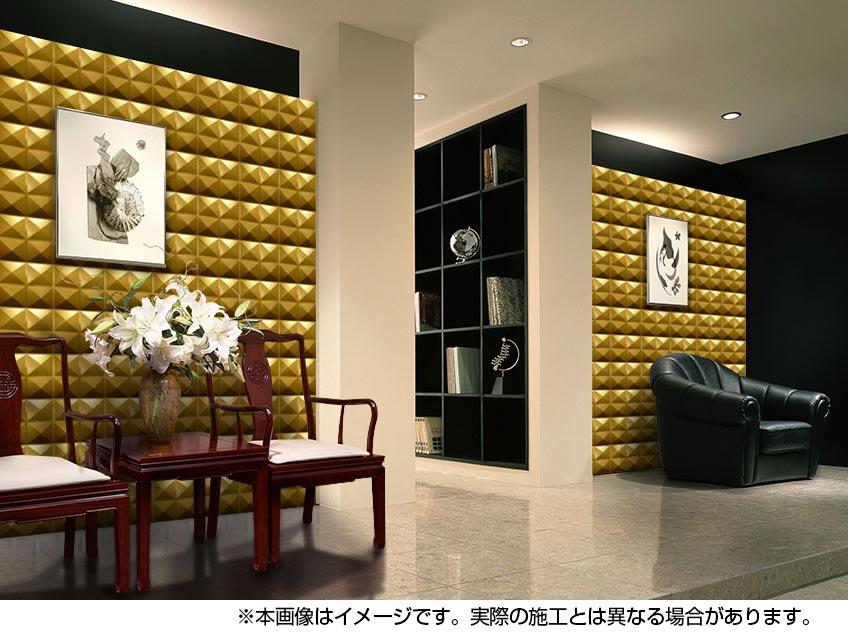 NDZB3001GL スチール製装飾パネル 3Dジン 金色 300×300mm 1枚 受注生産品