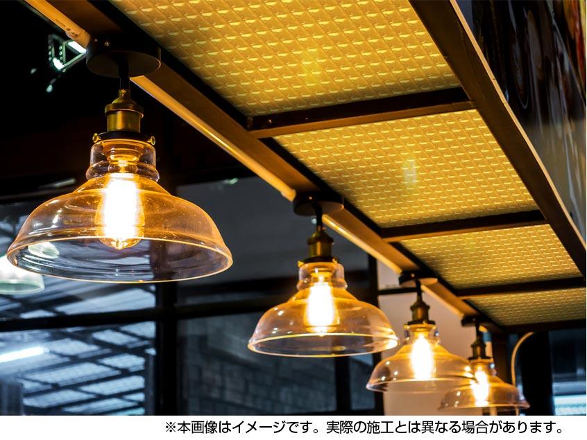 【NDCB003GL-N2】壁面装飾パネル ABS樹脂製 サンプロント ゴールド 裏面シール無し 1/2カット 1390×1000mm
