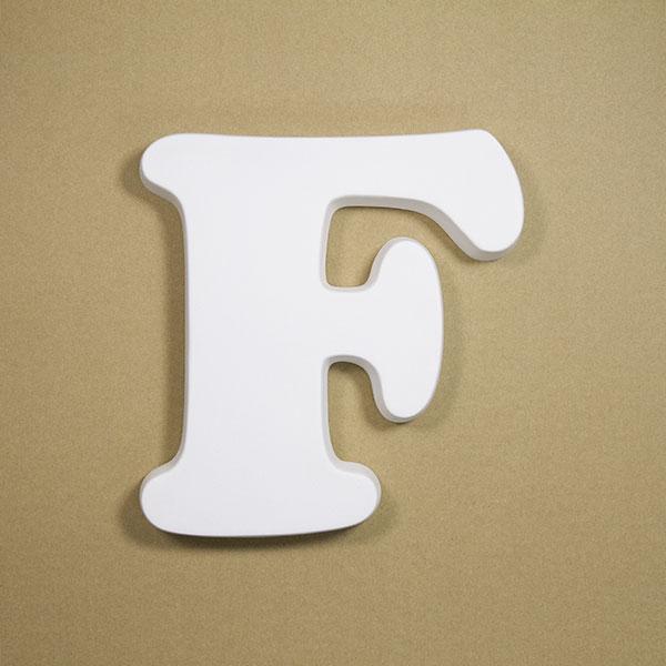 【NFRC0F-BIG】 アルファベットオブジェ FRP製 F 壁掛け用フック穴あり 大 257×241×30mm