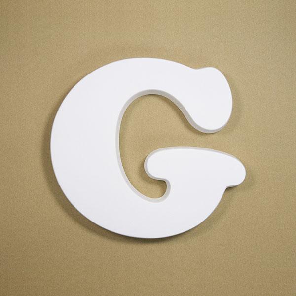【NFRC0G-BIG】 アルファベットオブジェ FRP製 G 壁掛け用フック穴あり 大 260×282×30mm