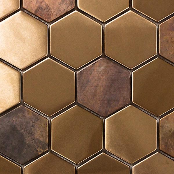 NTL010 銅張モザイクタイル 3D銅 陶器製/表面銅張 315×325mm