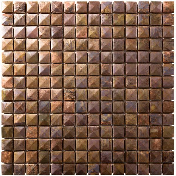 NTL008|銅張モザイクタイル 3D銅 陶器製/表面銅張 300×300mm