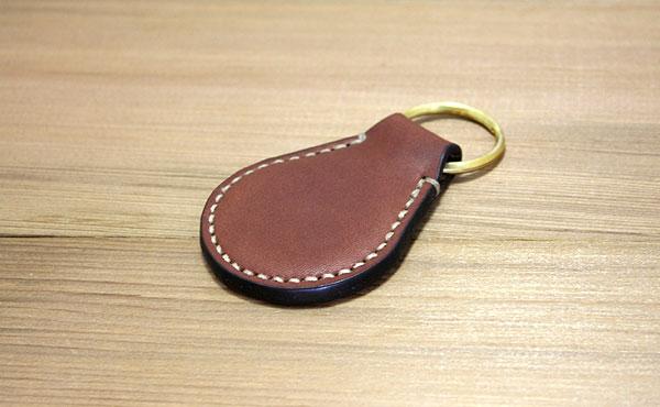 栃木レザー キーホルダー ピュアリングL 真鍮無垢【オーダーメイド お好みの革色糸色選べます】【ゆうパケット対応】
